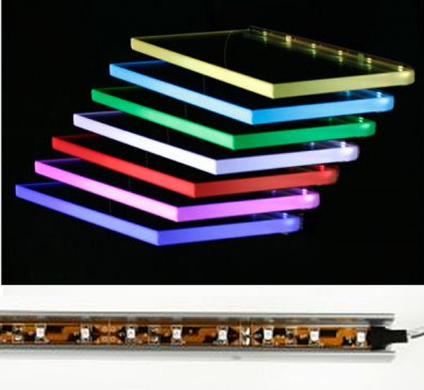 led glasbeleuchtungsschiene farbwechsel 60cm glasregal ebay. Black Bedroom Furniture Sets. Home Design Ideas
