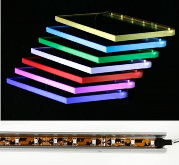 led glasbeleuchtungsschiene farbwechsel 60cm glasregal ebay. Black Bedroom Furniture Sets. Home Design Ideas