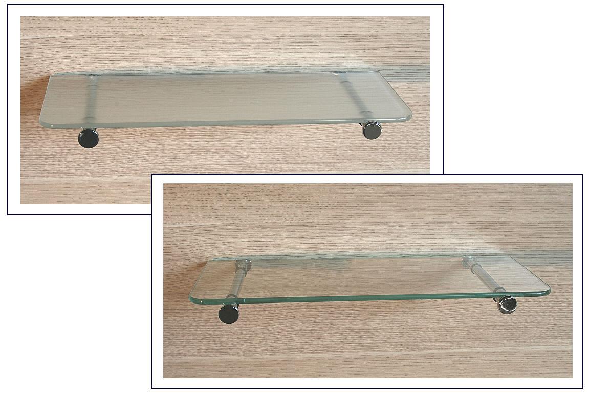 Glasregal 40×15 cm6 abgerundete Ecken mit Tablarhalterung