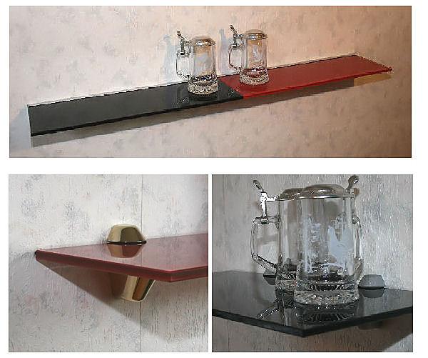 glasregal 90x20 rot 10mm clip div wandregal ablage ebay. Black Bedroom Furniture Sets. Home Design Ideas