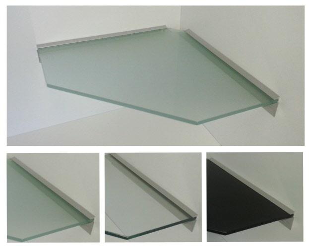 glasregal 10mm wandregal ecke pentagon 45x45cm klar sat schwarz profil lino10 ebay. Black Bedroom Furniture Sets. Home Design Ideas